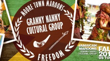 Jamaican Maroon performing arts ensemble, the Granny Nanny Cultural Group, at ICS this week.